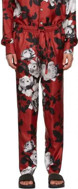 Dolce & Gabbana Red Silk Camellia Print Pyjama Trousers