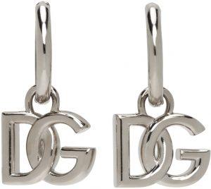 Dolce & Gabbana Silver Logo Hoop Earrings