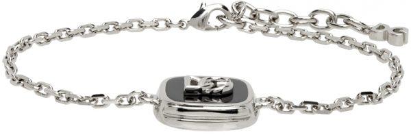Dolce & Gabbana Silver Logo Pendant Bracelet