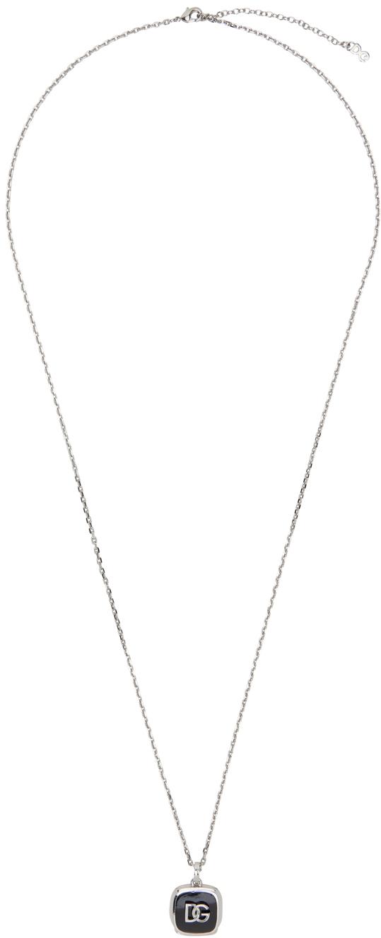 Dolce & Gabbana Silver Logo Pendant Necklace