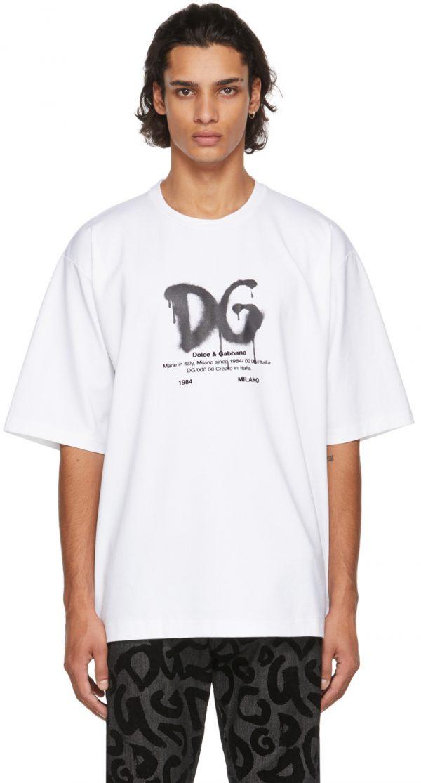 Dolce & Gabbana White Cotton Logo T-Shirt