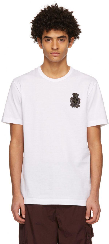 Dolce & Gabbana White Heraldic Patch T-Shirt
