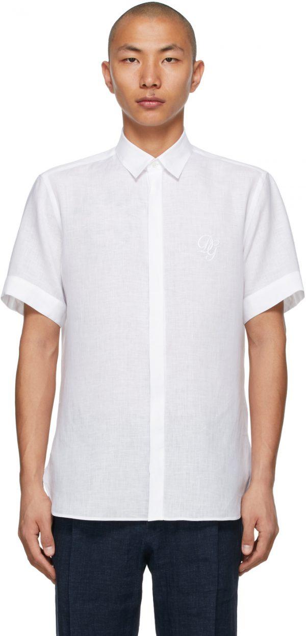 Dolce & Gabbana White Linen Embroidered DG Logo Short Sleeve Shirt
