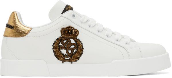 Dolce & Gabbana White Logo Patch Portofino Sneakers