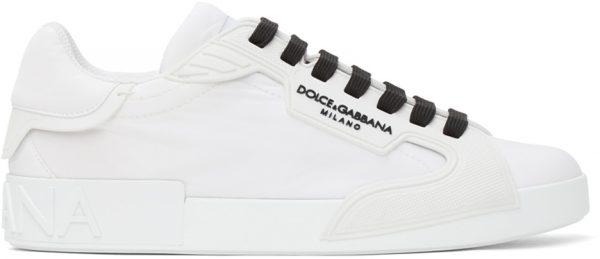 Dolce & Gabbana White Nylon Portofino Sneakers