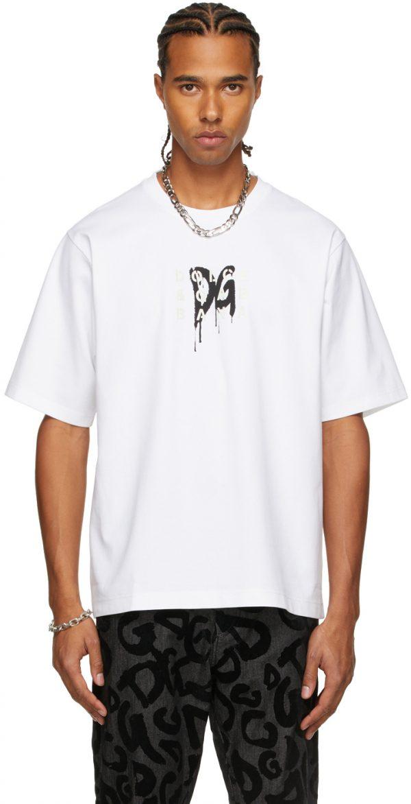 Dolce & Gabbana White Rubber Logo T-Shirt