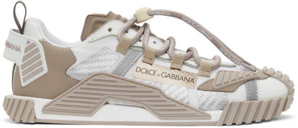 Dolce & Gabbana White & Beige NS1 Sneakers