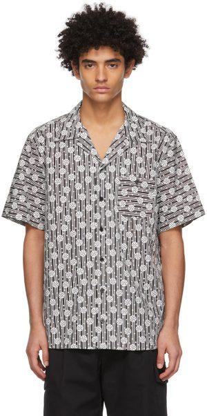 Dolce & Gabbana White & Black Bowling Short Sleeve Shirt