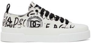 Dolce & Gabbana White & Black Logo Print Portofino Light Snekers