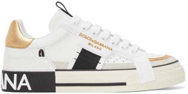 Dolce & Gabbana White & Gold Custom 2.Zero Sneakers