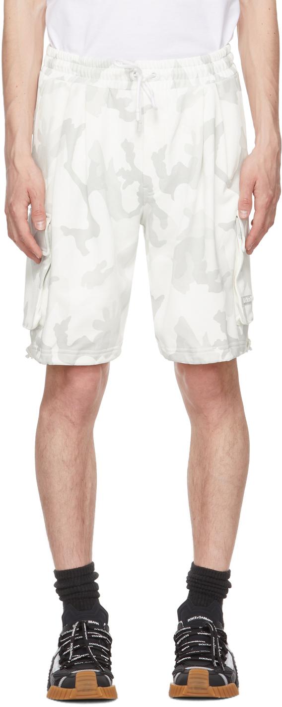 Dolce & Gabbana White & Grey Camo Bermuda Shorts