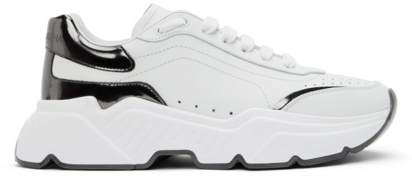Dolce & Gabbana White & Gunmetal Daymaster Sneakers