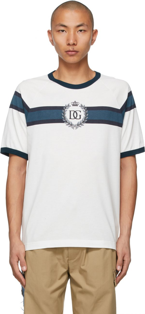 Dolce & Gabbana White & Navy DG Logo Print T-Shirt