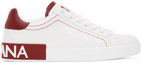 Dolce & Gabbana White & Red Portofino Sneakers
