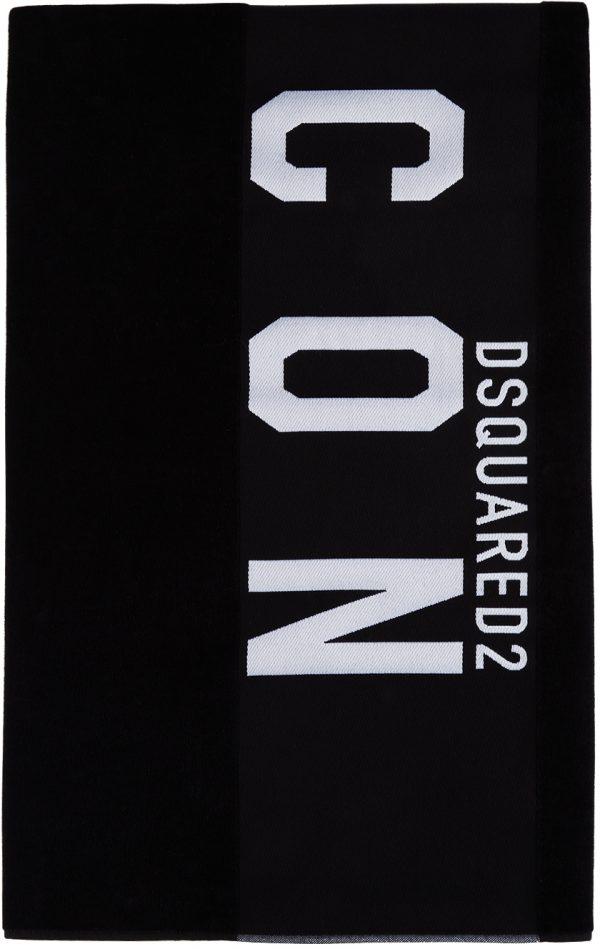 Dsquared2 Black 'Icon' Beach Towel