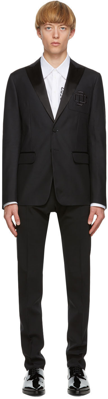 Dsquared2 Black Wool & Silk Logo Blazer