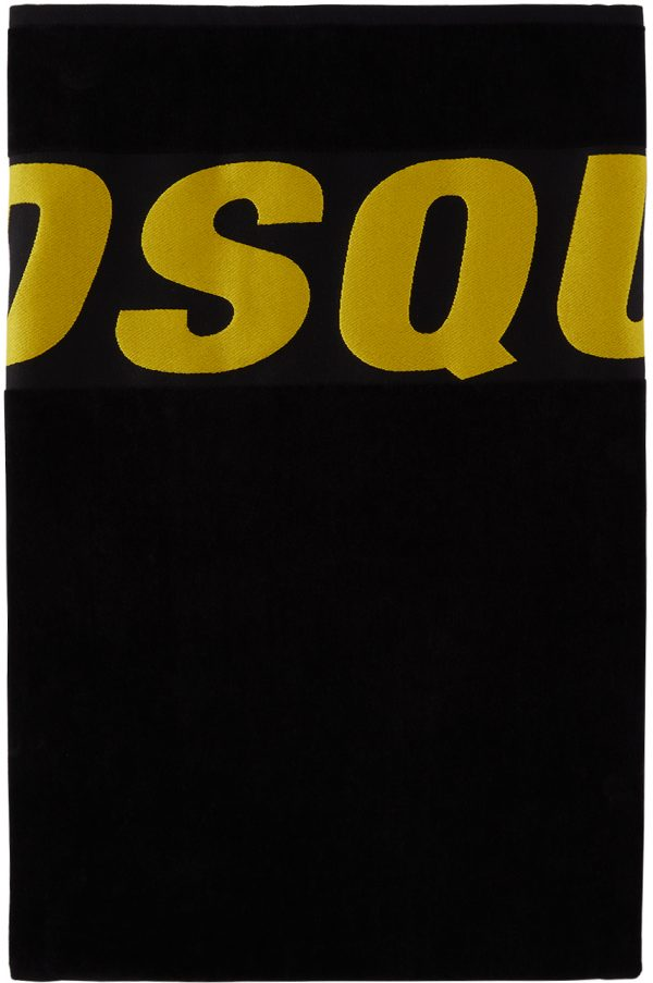 Dsquared2 Black & Yellow Logo Beach Towel