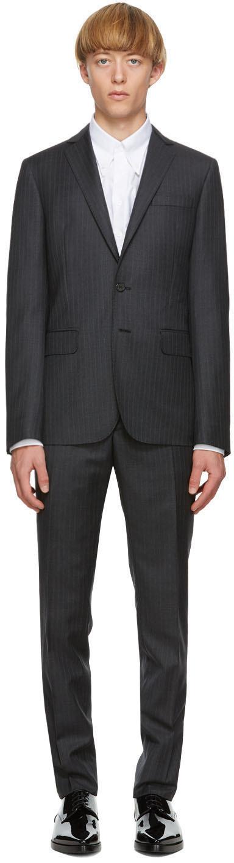 Dsquared2 Grey Wool Striped Paris Fit Suit