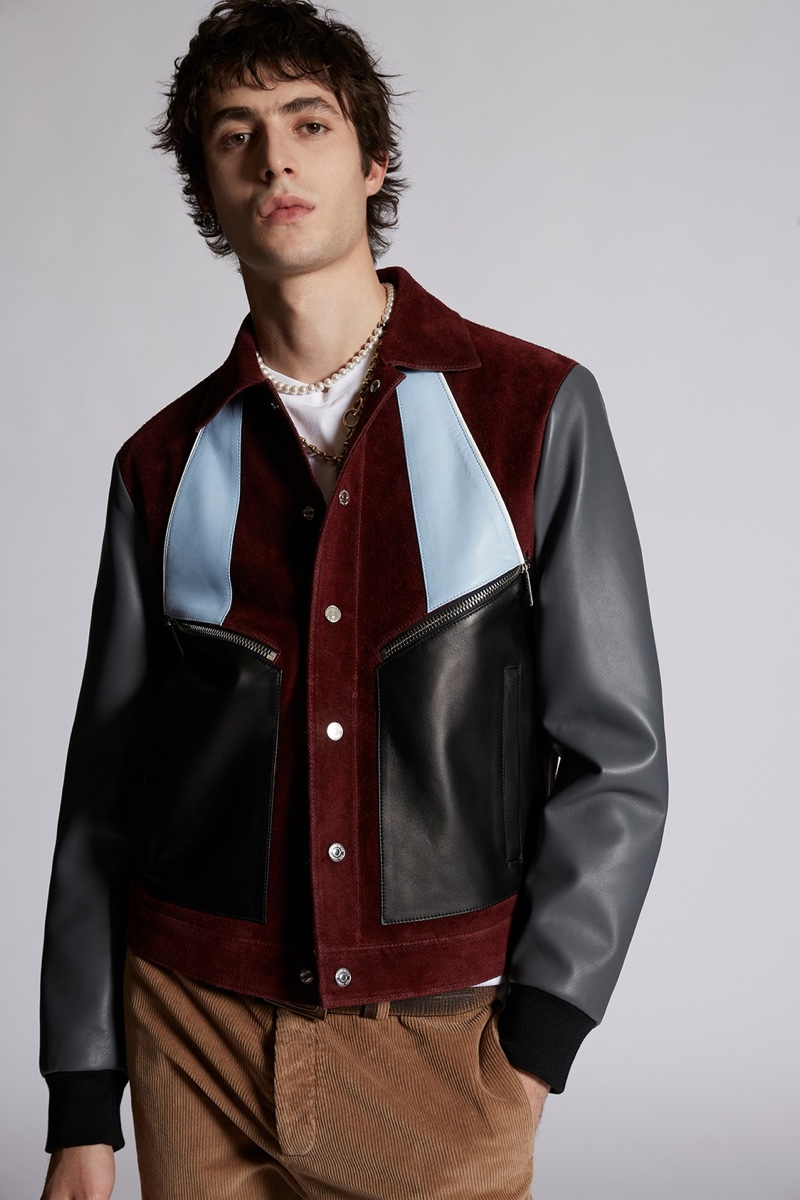 Dsquared2 Mens Leather Suede Varsity Bomber