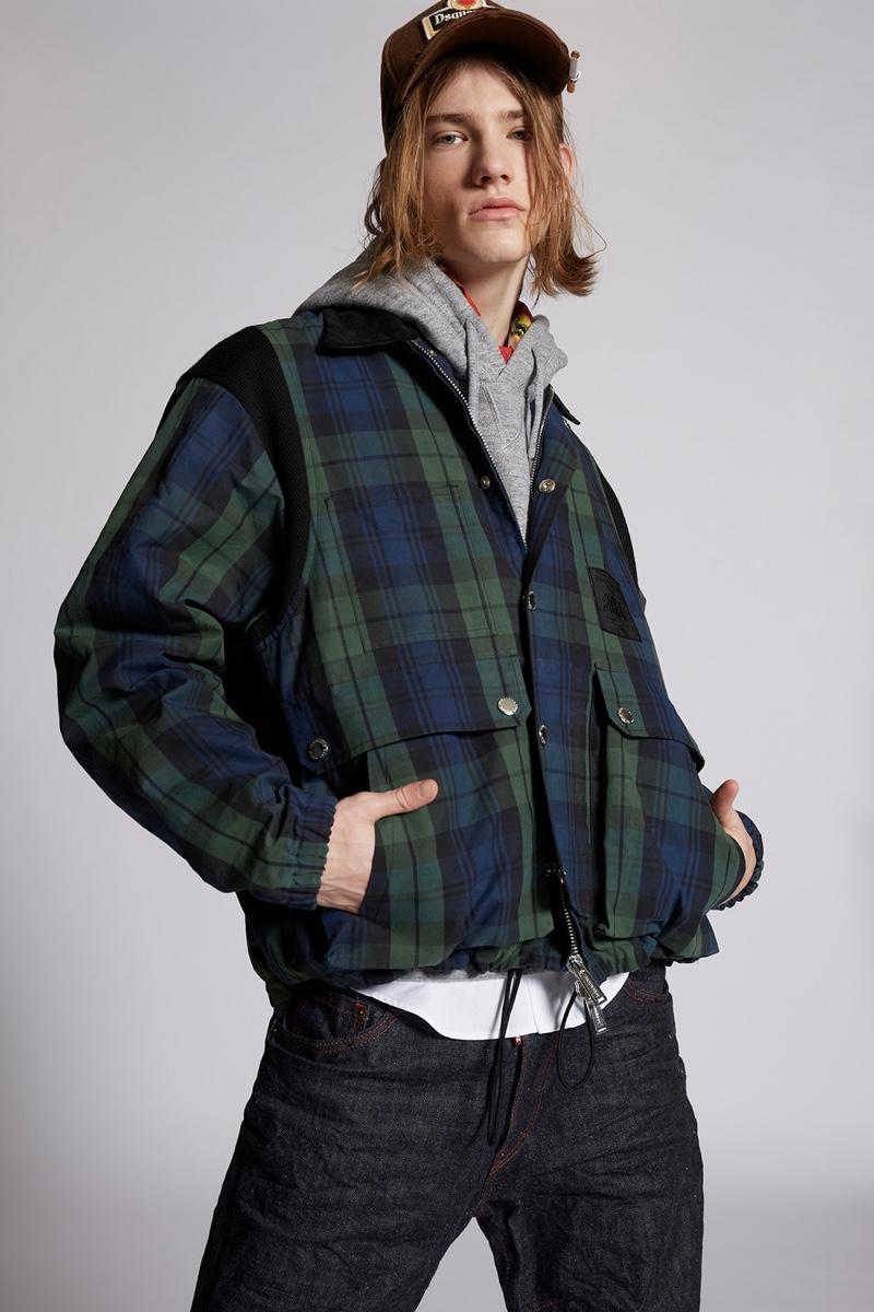 Dsquared2 Mens Multi Pocket Check Jacket
