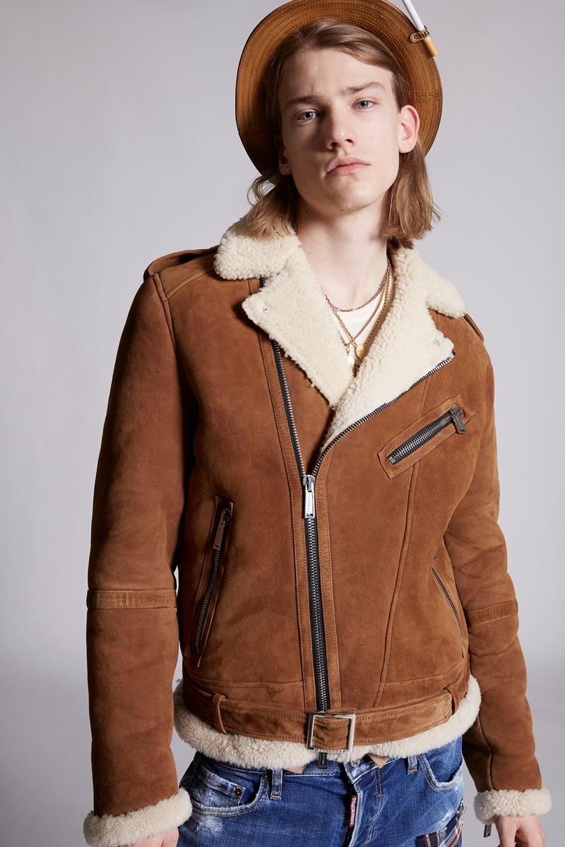 Dsquared2 Mens Shearling Zip Kiodo Jacket