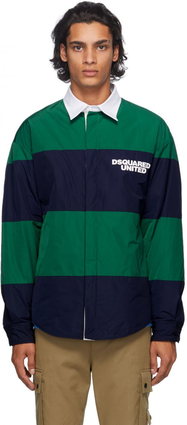 Dsquared2 Navy & Green Striped United Rugby Shirt