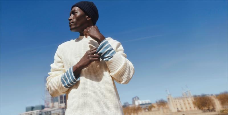 Dennis Nyero appears in Esprit's fall-winter 2021 men's campaign.