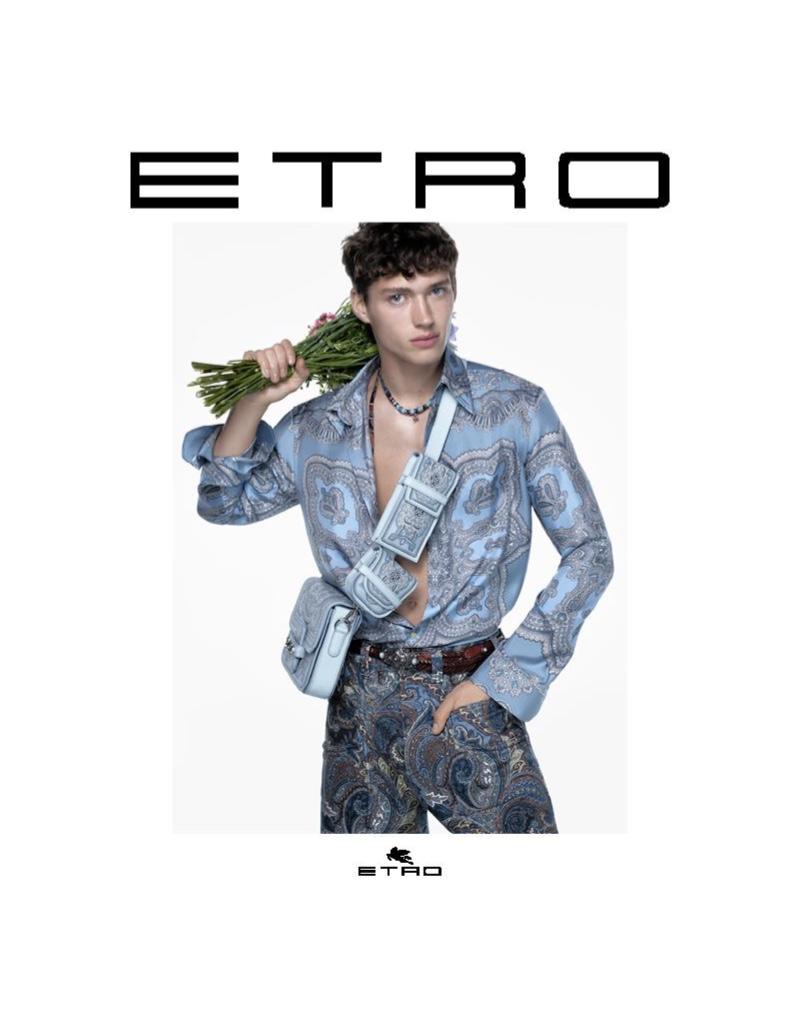 Valentin Humbroich stars in Etro's fall-winter 2021 campaign.