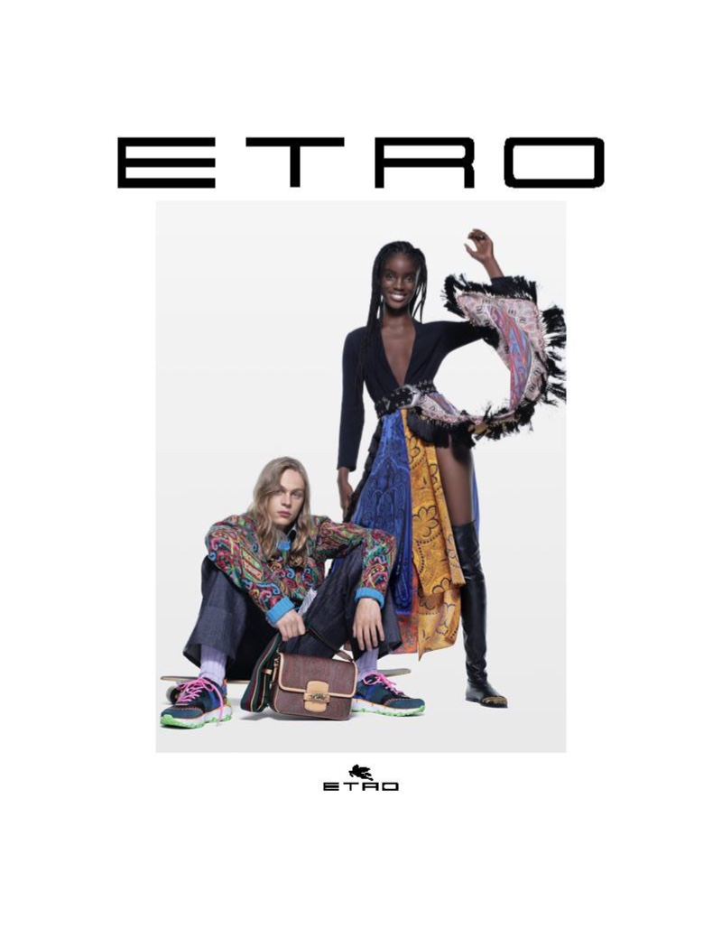Models Sonny Charlton  and Maty Fall come together for Etro's fall-winter 2021 campaign.