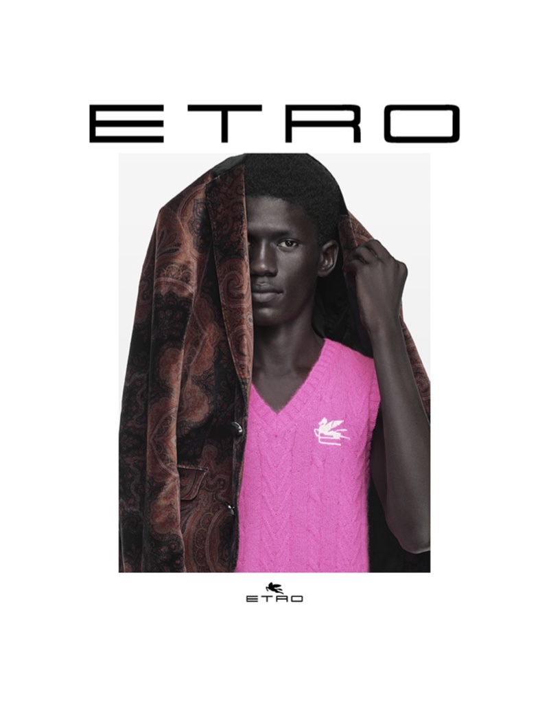 Moustapha Sy appears in Etro's fall-winter 2021 campaign.