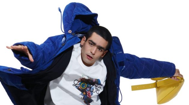 Elite star Omar Ayuso showcases clothing from the fall-winter 2021 Eye/Loewe/Nature collection.