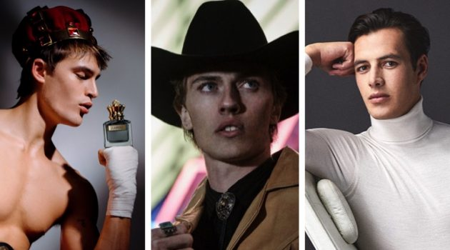 Week in Review: Parker Van Noord for Jean Paul Gaultier Scandal fragrance campaign, Lucky Blue Smith for GQ Style Russia, Harry Gozzett for Reiss Signatures.