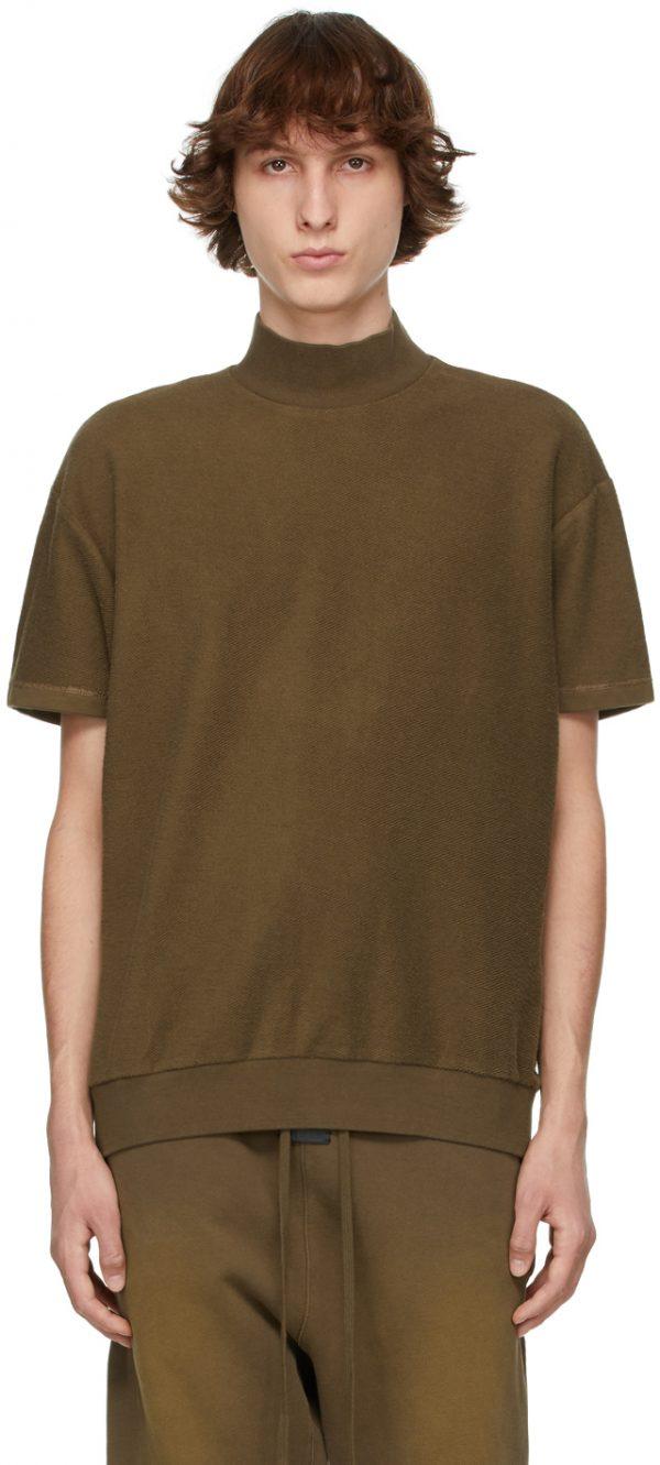 Fear of God Brown Inside Out Mock Neck Sweatshirt