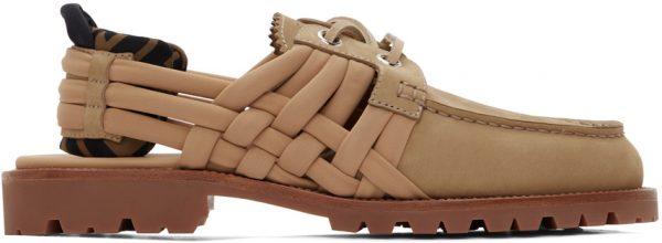 Fendi Beige Nubuck 'FF' Loafers