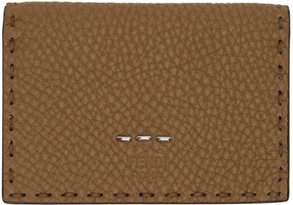 Fendi Beige & Yellow Selleria Flap Card Holder