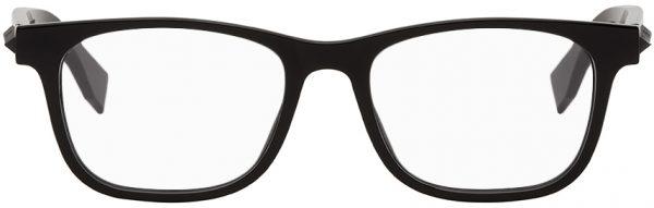 Fendi Black Acetate Rectangular Glasses