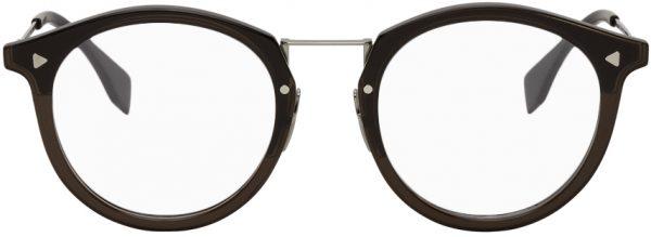 Fendi Black Acetate Round Glasses