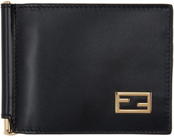Fendi Black Baguette Bifold Money Clip Wallet