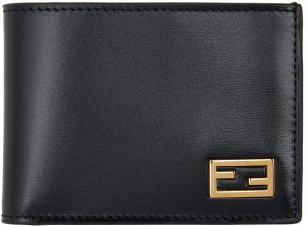 Fendi Black Baguette Bifold Wallet