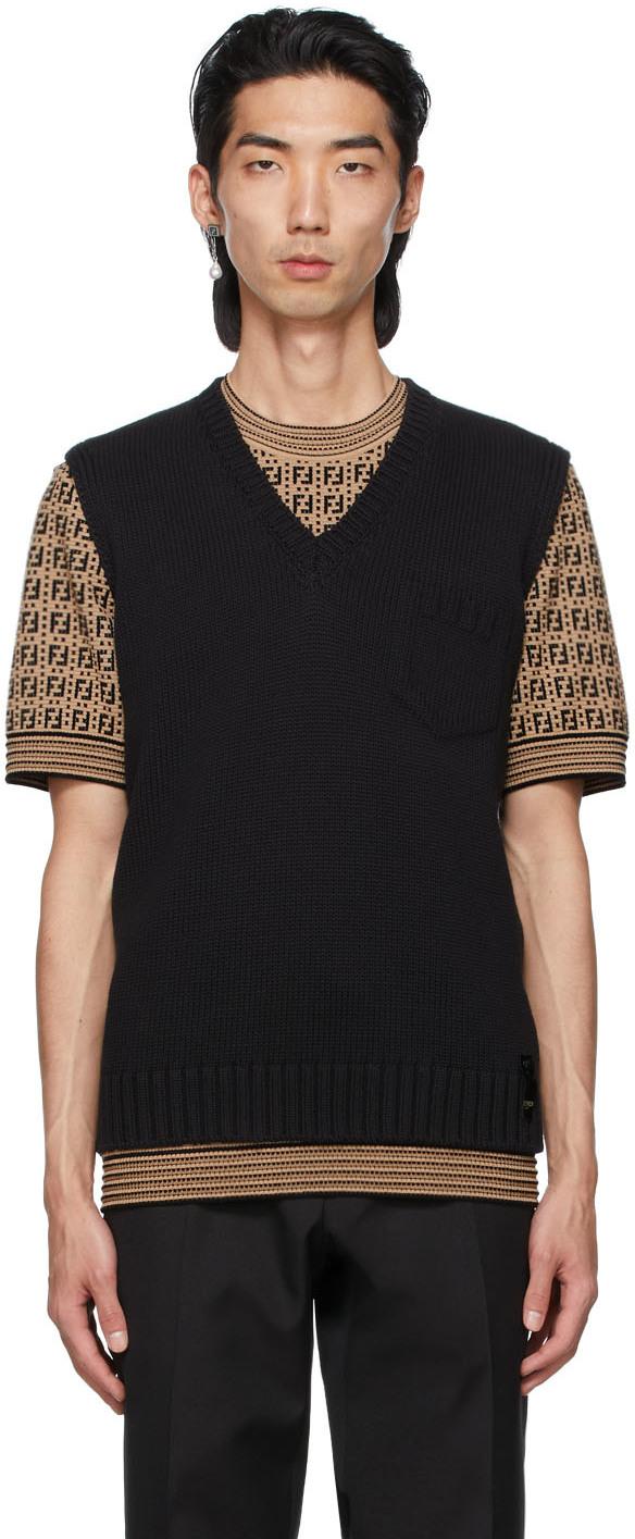 Fendi Black Embossed Logo Vest