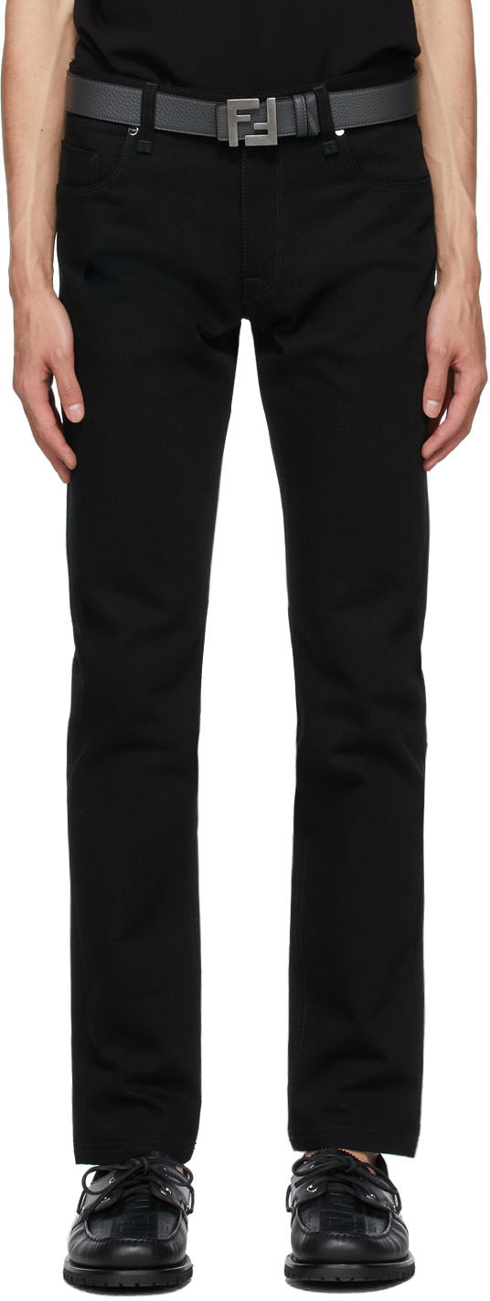 Fendi Black Embroidered Logo Jeans