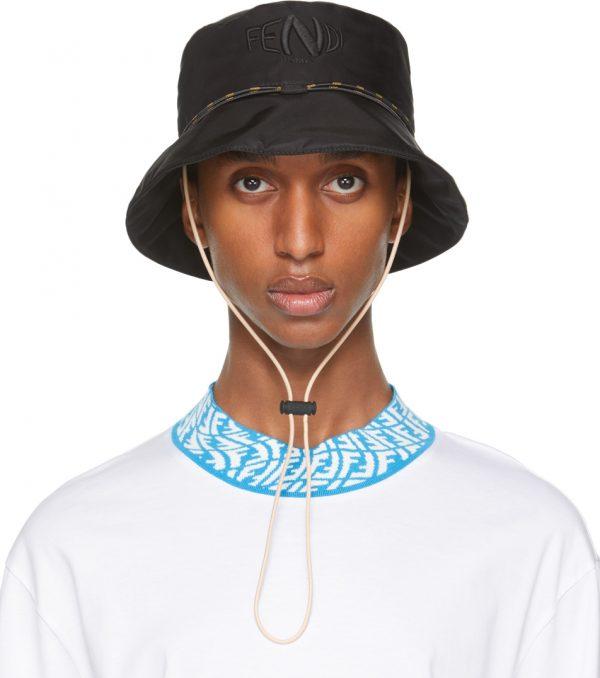 Fendi Black FF Fish-Eye Bucket Hat