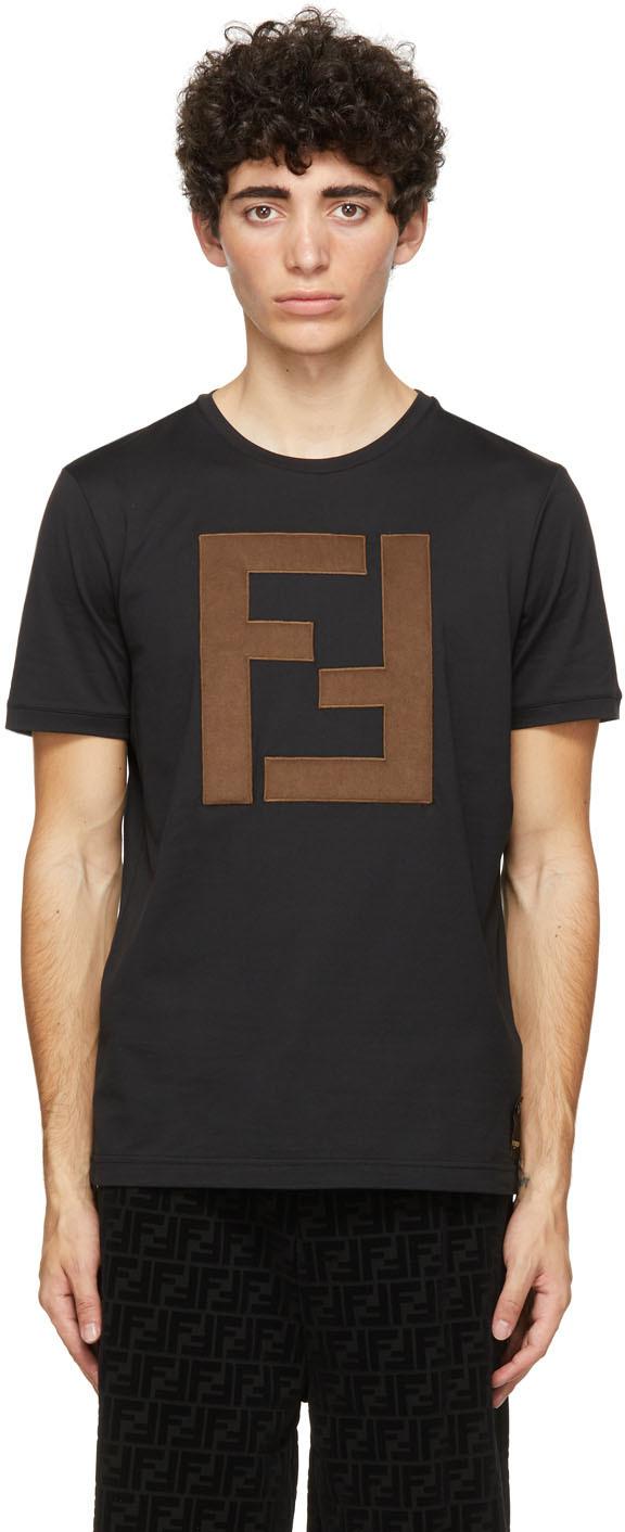 Fendi Black 'FF' Patch T-Shirt