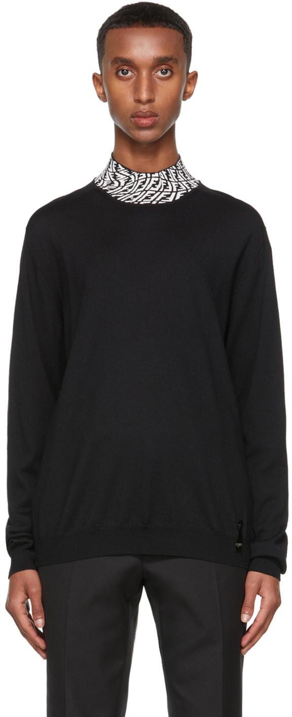 Fendi Black FF Vertigo Collar Turtleneck