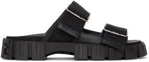 Fendi Black 'Fendi Force' Lug Sole Sandals