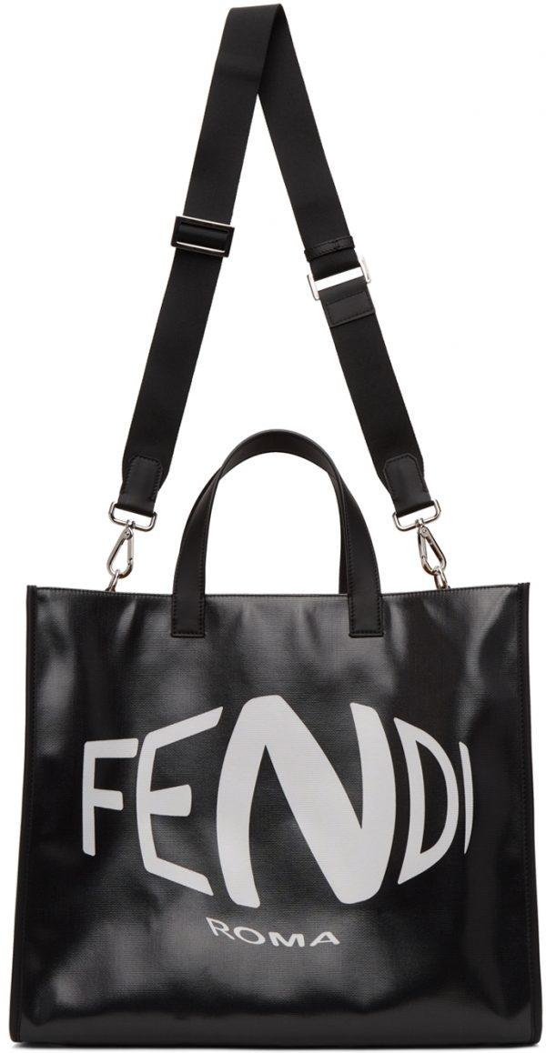 Fendi Black Fish-Eye Logo Tote