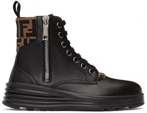 Fendi Black 'Forever Fendi' Biker Boots