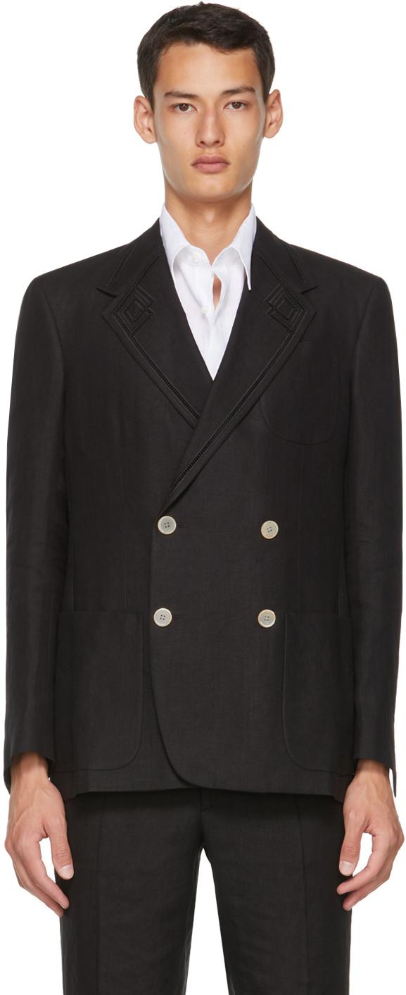 Fendi Black Hemp Double-Breasted Blazer