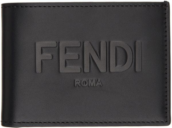Fendi Black Leather US Dollar Bifold Wallet