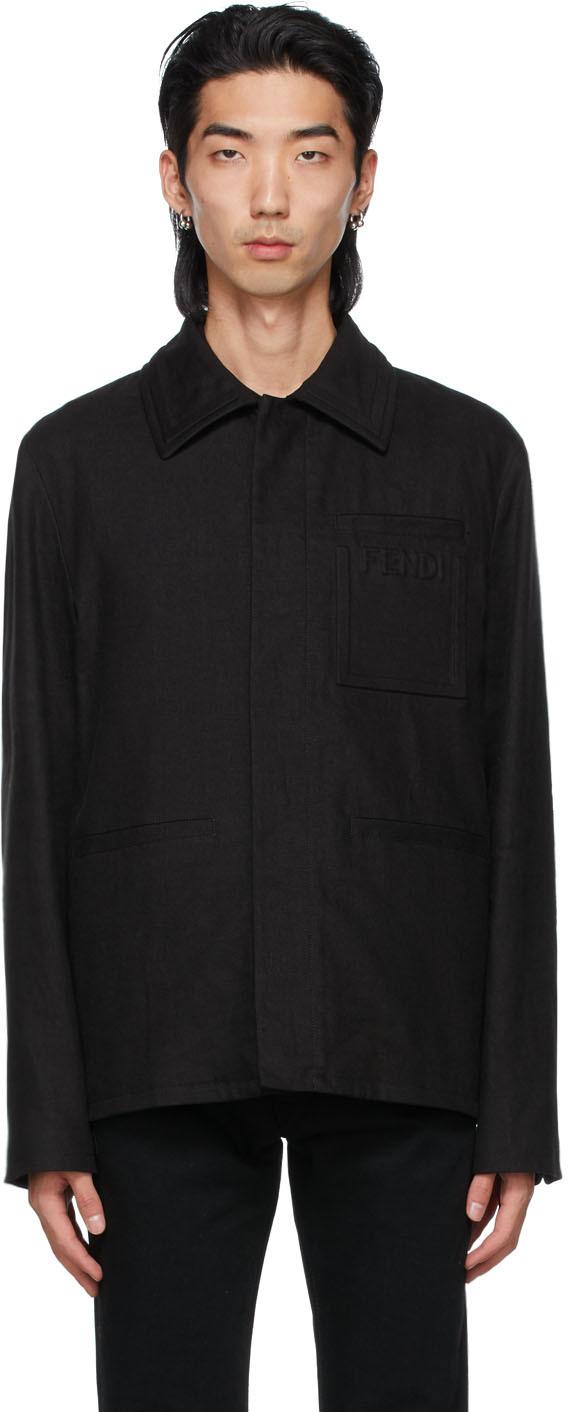 Fendi Black Linen Debossed Trompe-L'ail Jacket